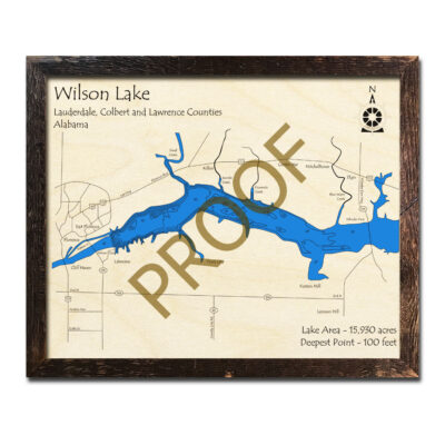 Wilson Lake AL 3d Wood Map