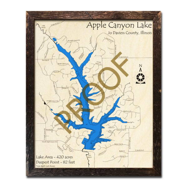 Apple Canyon Lake Framed Wood Map
