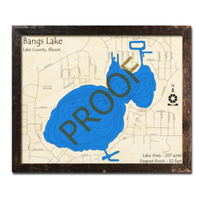 Bangs Lake Framed Wood Map
