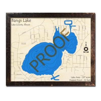 Bangs Lake Framed Wood Map