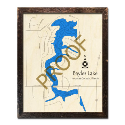 Bayles Lake Framed Wood Map
