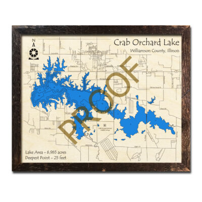 Crab Orchard Lake IL Wood Map 3d