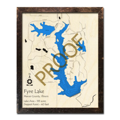 Fyre Lake IL Wooden Map 3D