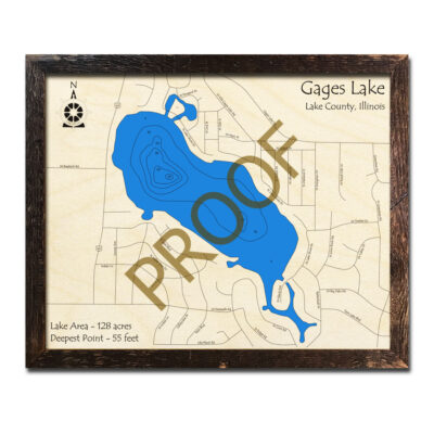 Gages Lake IL Wood Map