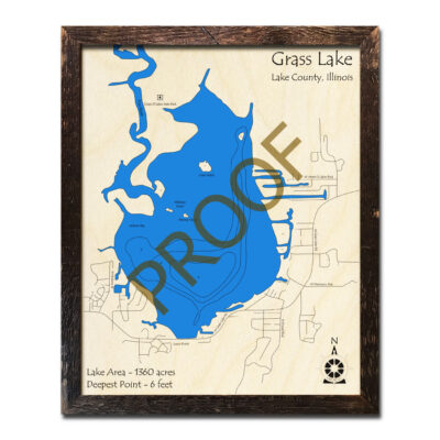 Grass Lake IL Map in 3D with wood frame