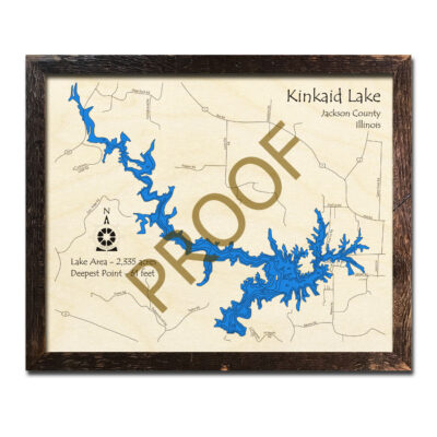 Kinkaid Lake IL Wooden Map 3d