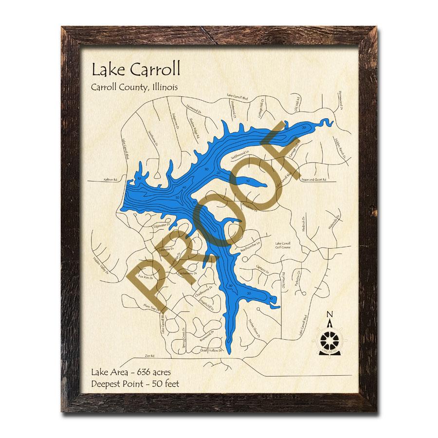 lake carroll il map Lake Carroll Il Framed Map 3d Nautical Wood Charts lake carroll il map