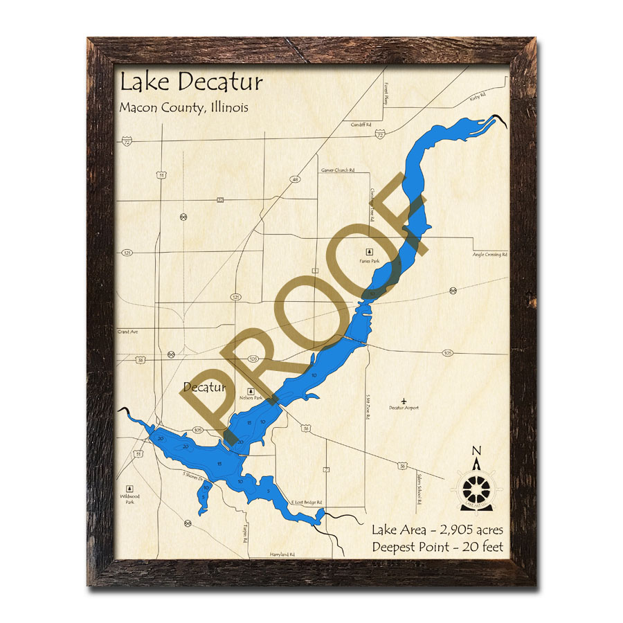 Decatur Illinois Map.Lake Decatur Il Framed Map 3d Nautical Wood Charts