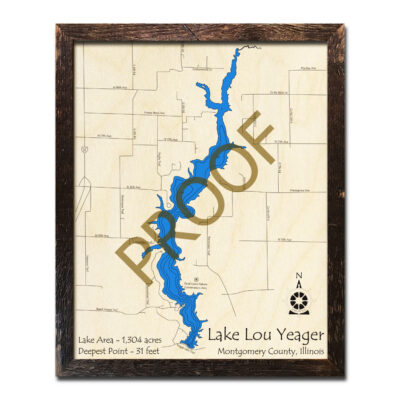 Lake Lou Yeager Wood Map 3D Framed