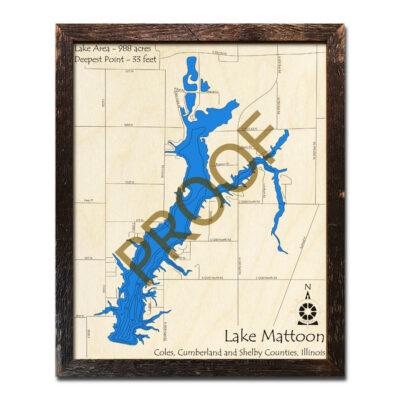 Lake Mattoon Wood Map 3D