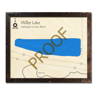 Miller Lake Wood Map 3d