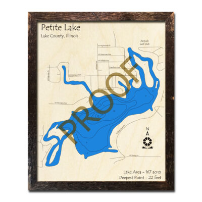 Petite Lake IL Wood Map 3d