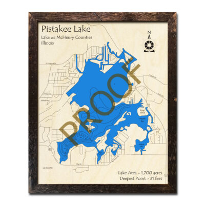 Pistakee Lake Wood Map 3d
