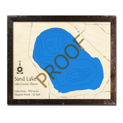 Sand Lake Wood Map 3d Illinois