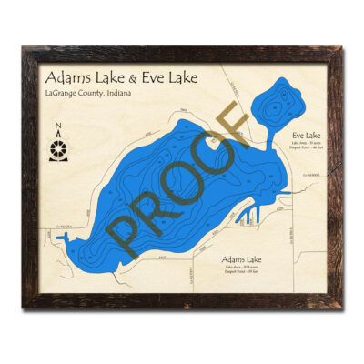 Adams Lake IN Wood Map 3d