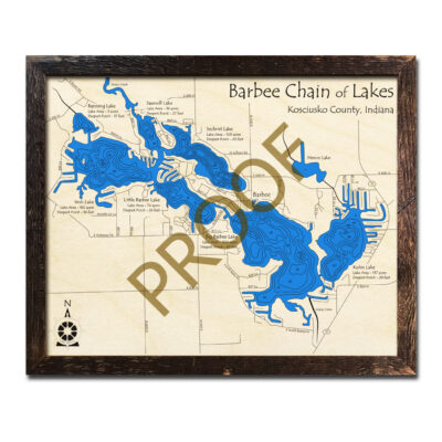 Barbee Chain of Lakes Wood Map 3d