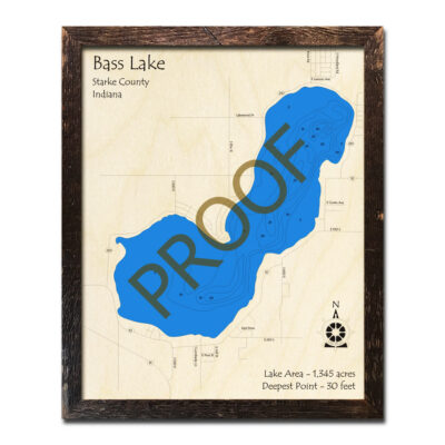 Bass Lake Indiana Wooden Map 3d