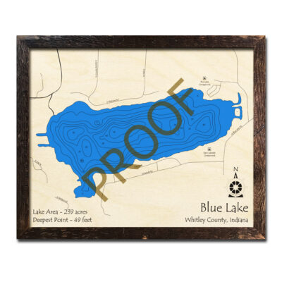 Blue Lake IN Wooden Map 3d