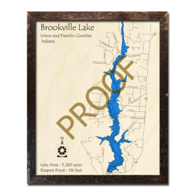 Brookville Lake IN Wooden Map 3d