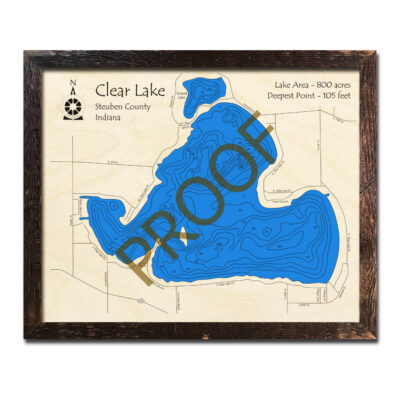 Clear Lake IN Wood Map 3d