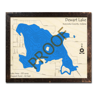 Dewart Lake IN Wood Map 3d