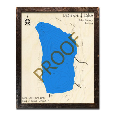 Diamond Lake Indiana Wooden Map 3d