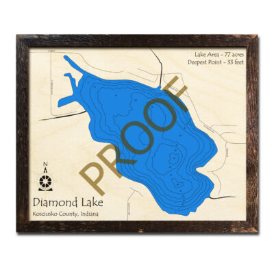 Diamond Lake IN Wooden Map in 3d