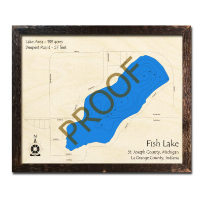 Fish Lake Wooden Map 3d