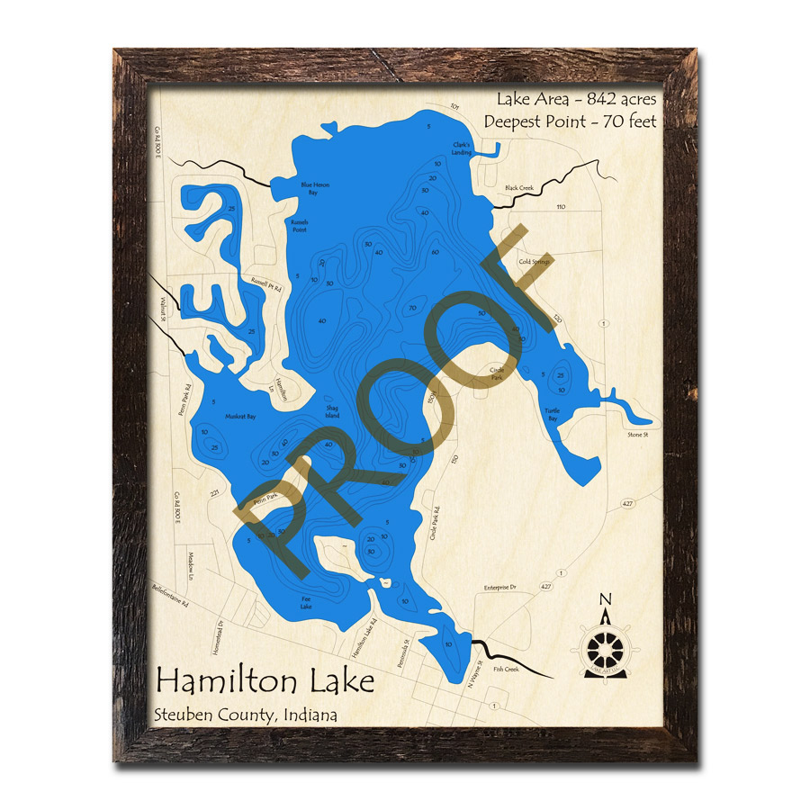 Hamilton Lake Indiana Map.Hamilton Lake In Wood Map 3d Nautical Wood Charts
