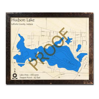 Hudson Lake IN Wood Map 3d