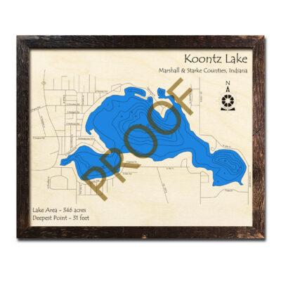 Koontz Lake Wood Map 3d