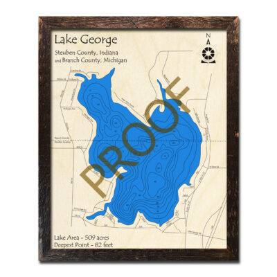 Lake George Indiana/Michigan 3d Wooden Map