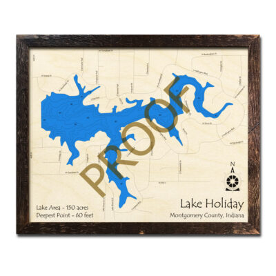 Lake Holiday IN 3d Wood Map