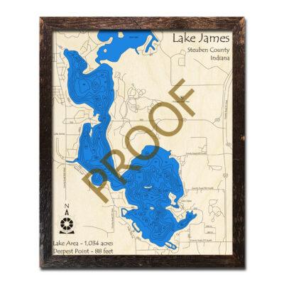 Lake James 3D Wood Map, Indiana