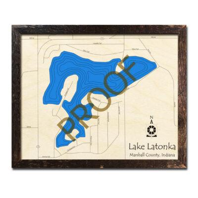 Lake Latonka Indiana 3d Wood Map