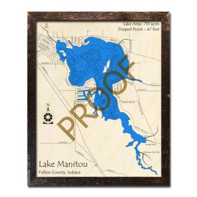 Lake Manitou 3d wood map