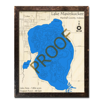 Lake Maxinkuckee Map, wood 3d