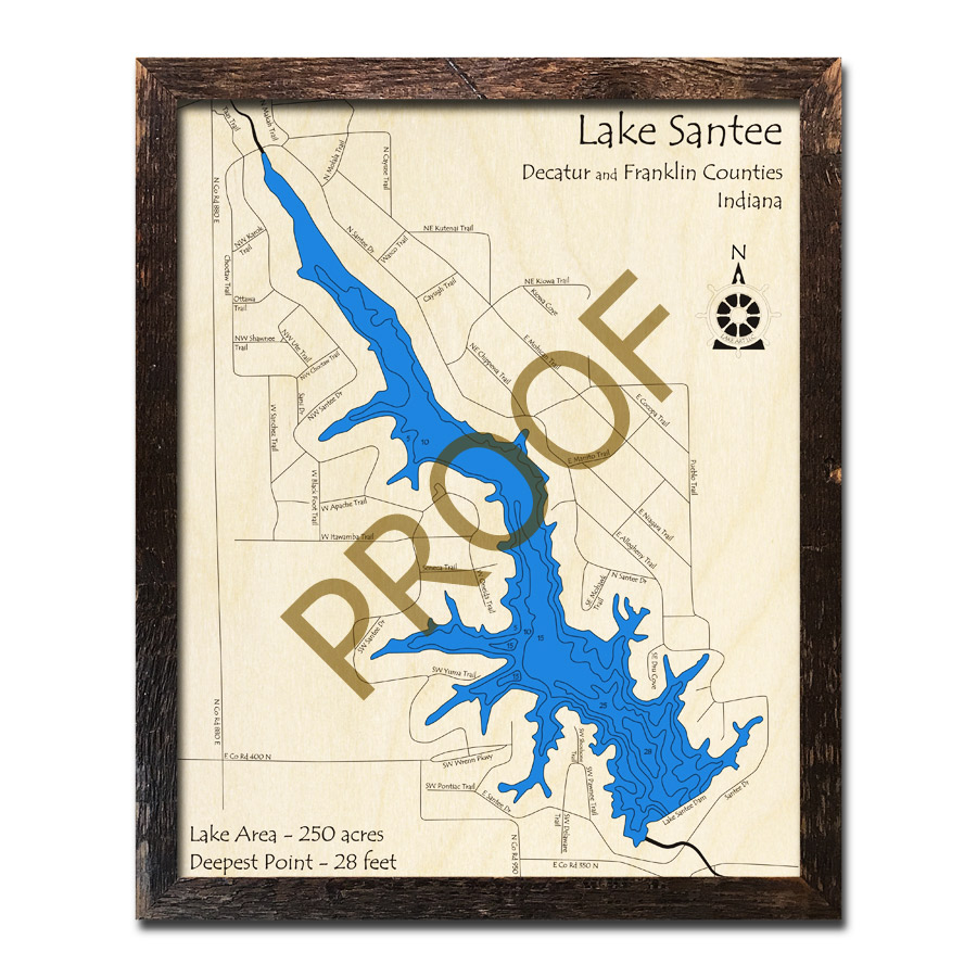 Lake Santee, IN Wood Map | 3D Nautical Wood Charts