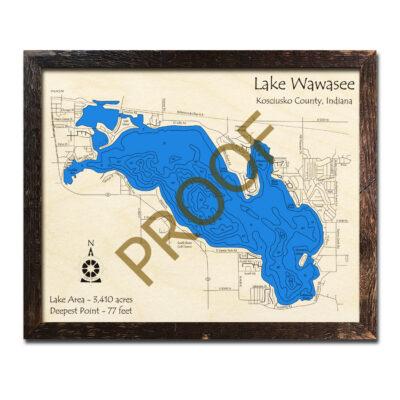 Lake Wawasee Wood Map 3d