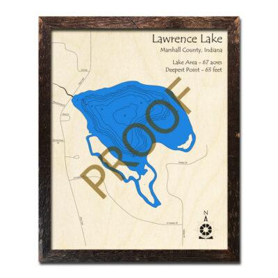 Lawrence Lake Indiana Wood Map 3d