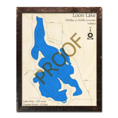 Loon Lake Indiana Wood Map 3d
