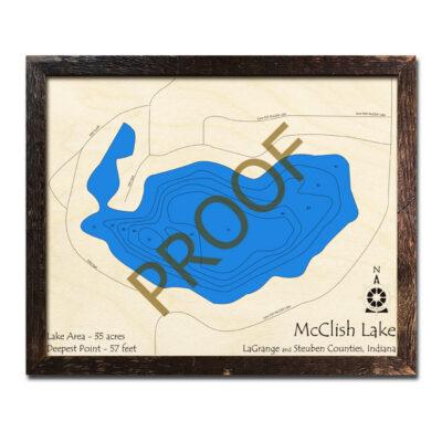 McClish Lake Indiana 3d Wood Map