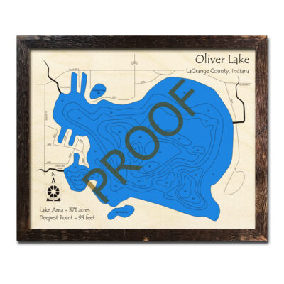 Oliver Lake Indiana 3d Wood Map