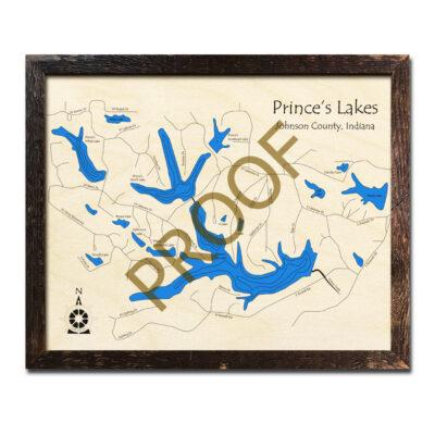 Prince's Lake Indiana 3d Wood Map