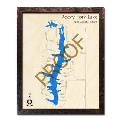Rocky Fork Lake IN 3D Wood Map