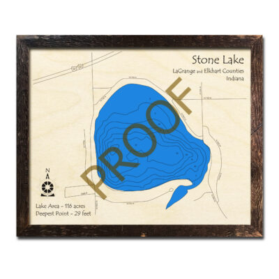 Stone Lake Indiana 3d Wood Map