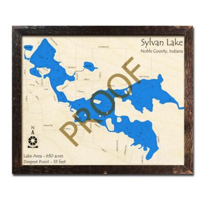 Sylvan Lake IN 3d Wood Map