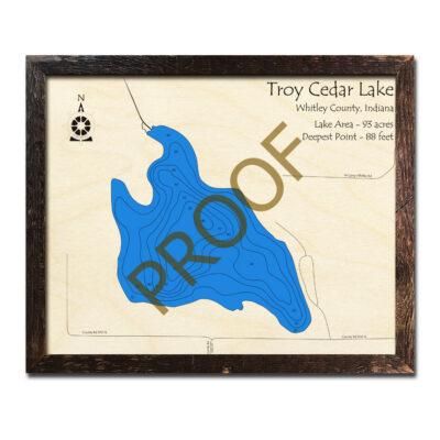 Troy Cedar Lake Indiana 3d Wooden Map