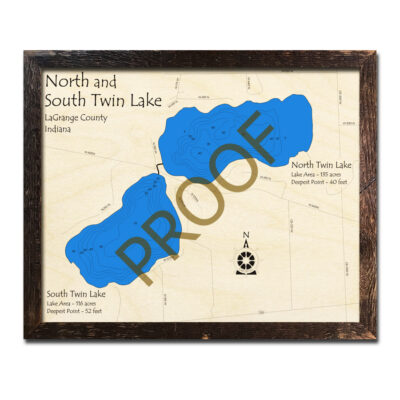 Twin Lakes Indiana 3d Wooden Map