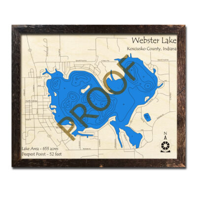 Webster Lake Indiana 3d Wooden Map